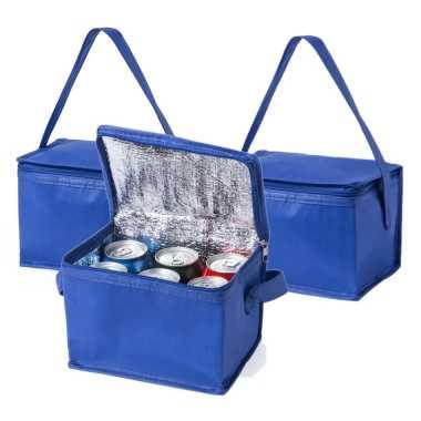 10x stuks kleine mini koeltassen blauw sixpack blikjes