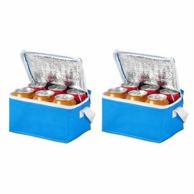 10x stuks kleine mini koeltassen blauw voor 6 blikjes 20 x 15 x 12 cm