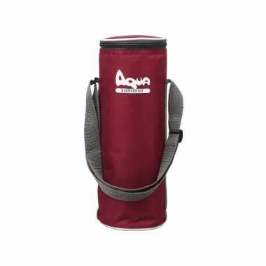 1x rode koeltassen voor flessen 31 x 11 cm 2.9 liter met schouderband
