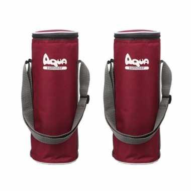 2x rode koeltassen voor flessen 31 x 11 cm 2.9 liter met schouderband