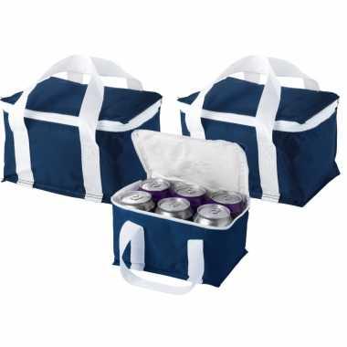 3x stuks kleine koeltassen donker blauw 19 cm voor sixpack blikjes 3,5 liter