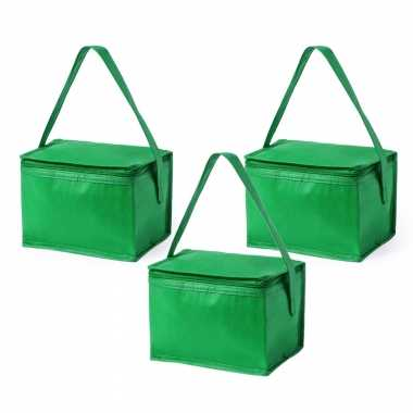 5x stuks kleine mini koeltassen groen sixpack blikjes