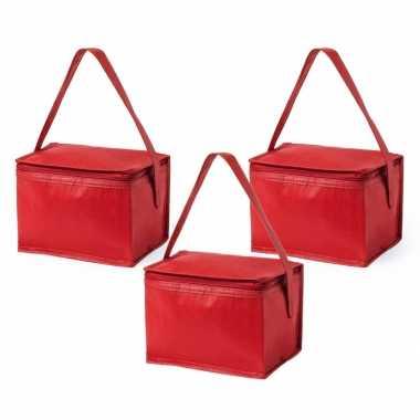 5x stuks kleine mini koeltassen rood sixpack blikjes