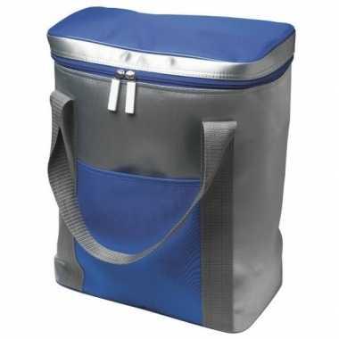 Grote koeltas zilver/blauw 15 liter