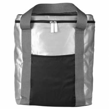 Grote koeltas zilver/zwart 15 liter