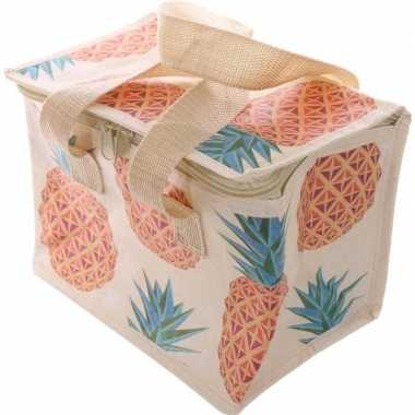 Kleine koeltas ananas print voor 6/sixpack blikjes