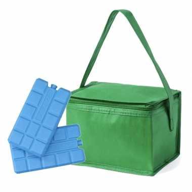 Kleine koeltas groen voor 6 blikjes inclusief 2 koelelementen