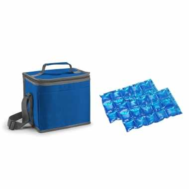 Kleine koeltas voor lunch blauw met 2 stuks flexibele koelelementen 9 liter