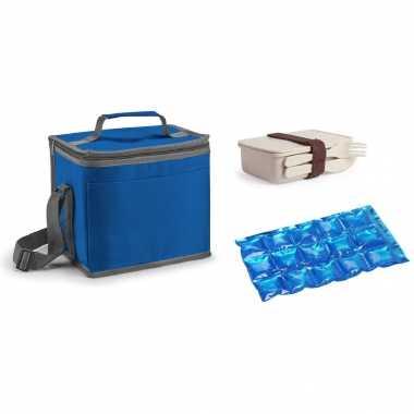 Kleine koeltas voor lunch blauw met lunchbox met bestek en flexibel koelelement 9 liter