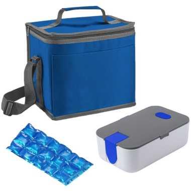 Kleine koeltas voor lunch blauw met lunchtrommel en flexibel koelelement 9 liter