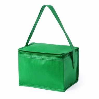 Kleine mini koeltas groen 6 blikjes