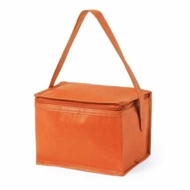 Kleine mini koeltas oranje 6 blikjes