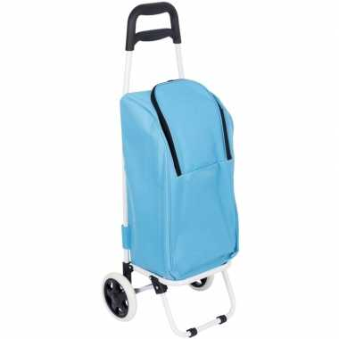 Koeltas boodschappentrolley blauw 25 liter