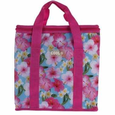 Koeltas hibiscus bloemen print roze 24 liter