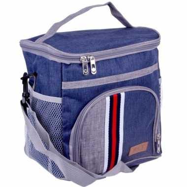 Koeltas schoudertas blauw met extra vakje 9 liter