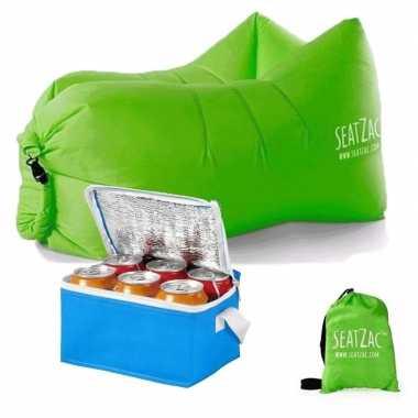 Lazy zitzak lucht stoel in het groen inclusief mini koeltas