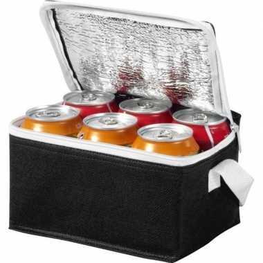 Mini koeltas zwart/wit 20 cm voor 6/sixpack blikjes 3,5 lit