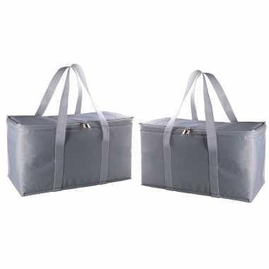 Pakket van 2x stuks grote koeltassen zilver/grijs 17 liter