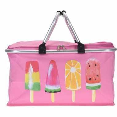 Roze koeltas met ijsjes 48cm