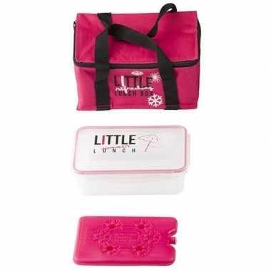 Roze mini koeltas met lunchtrommel en koelelement