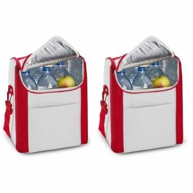 Set van 2x koeltassen rood/wit met voorvak en schouderriem 12 liter 34 cm