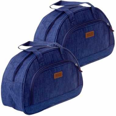 Set van 2x stuks kleine koeltassen voor lunch blauw 32 x 12 x 21 cm 8 liter