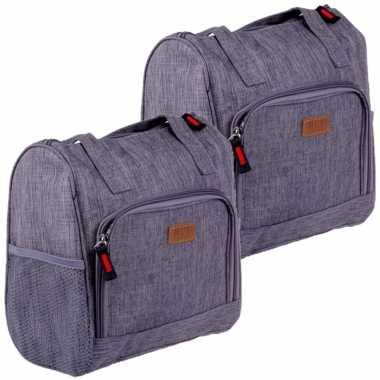 Set van 2x stuks kleine koeltassen voor lunch grijs 25 x 12 x 26 cm 8 liter
