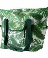 Grote koeltas bladeren print wit groen 40 cm 40 liter
