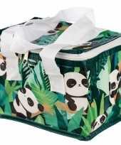 Kleine koeltas panda print groen 20 5 cm 4 liter