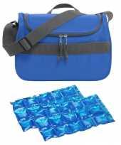 Kleine koeltas voor lunch blauw met 2 stuks flexibele koelelementen 10 liter