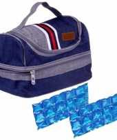 Kleine koeltas voor lunch blauw met 2 stuks flexibele koelelementen 5 4 liter