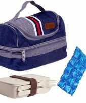 Kleine koeltas voor lunch blauw met lunchbox met bestek en flexibel koelelement 5 4 liter