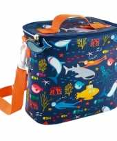 Kleine koeltas voor lunch oranje blauw met oceaan print 9 x 22 x 22 cm 4 liter