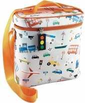 Kleine koeltas voor lunch oranje zilver met vervoersmiddelen print 9 x 22 x 22 cm 4 liter