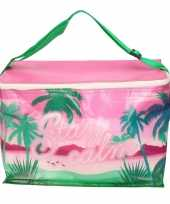 Kleine koeltas voor lunch tropical roze 32 x 16 x 22 cm 10 liter