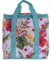 Koeltas hibiscus bloemen print blauw 24 liter