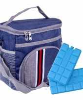 Koeltas schoudertas blauw met extra vakje 9 liter incl 2 koelelementen