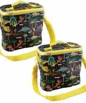 Set van 2x stuks kleine koeltassen voor lunch geel zwart met dinosaurussen print 9 x 22 x 22 cm 4 l